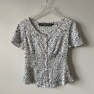 Code X Mode Black and White Spotted Button Blouse